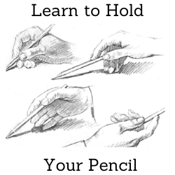 Learn to hold your pencil before making portrait drawings